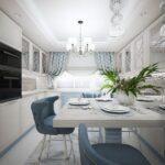 кухня 12 м с голубыми стульями