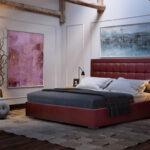 кровать в спальне кожа