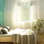 кровать в спальне светлая