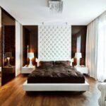 кровать в спальне оформление