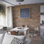 стена возле стола на кухне идеи фото