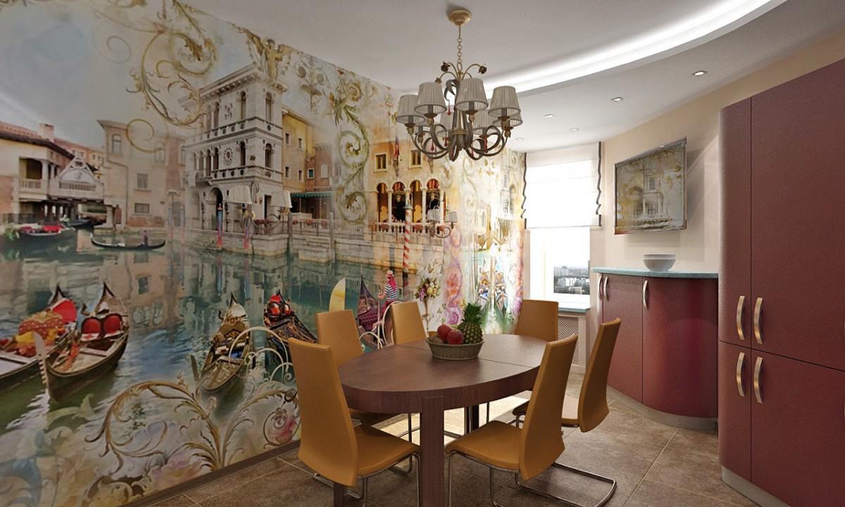 дизайн стены возле стола на кухне фотообои