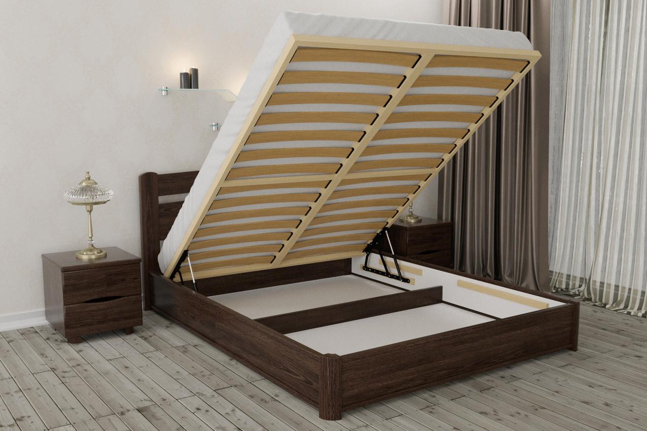 кровать с подъемным механизмом из дерева