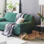 еврочехол на диван зеленый с пледом