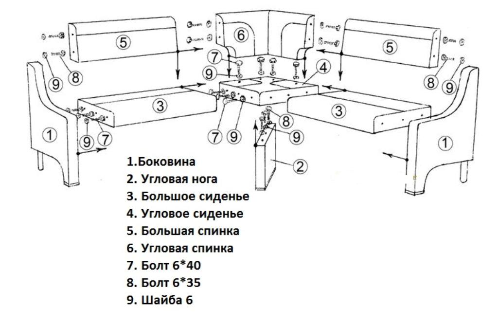 инструкция по сборке кухонного уголка