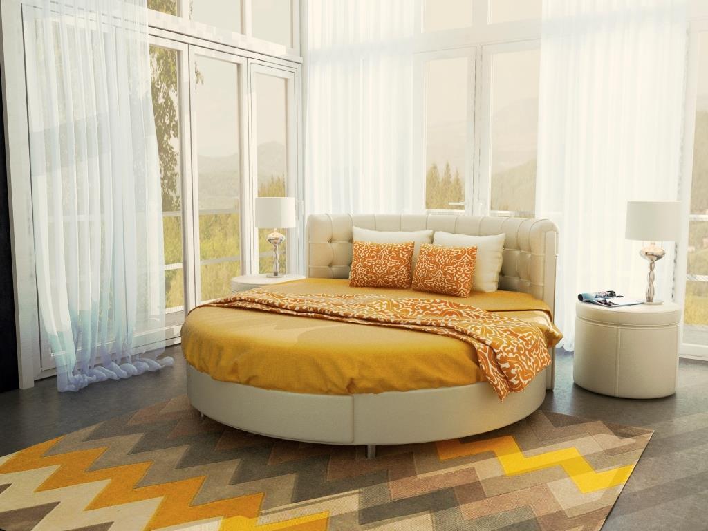 как красиво заправить кровать круглую