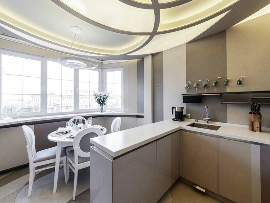 совмещение балкона и кухни
