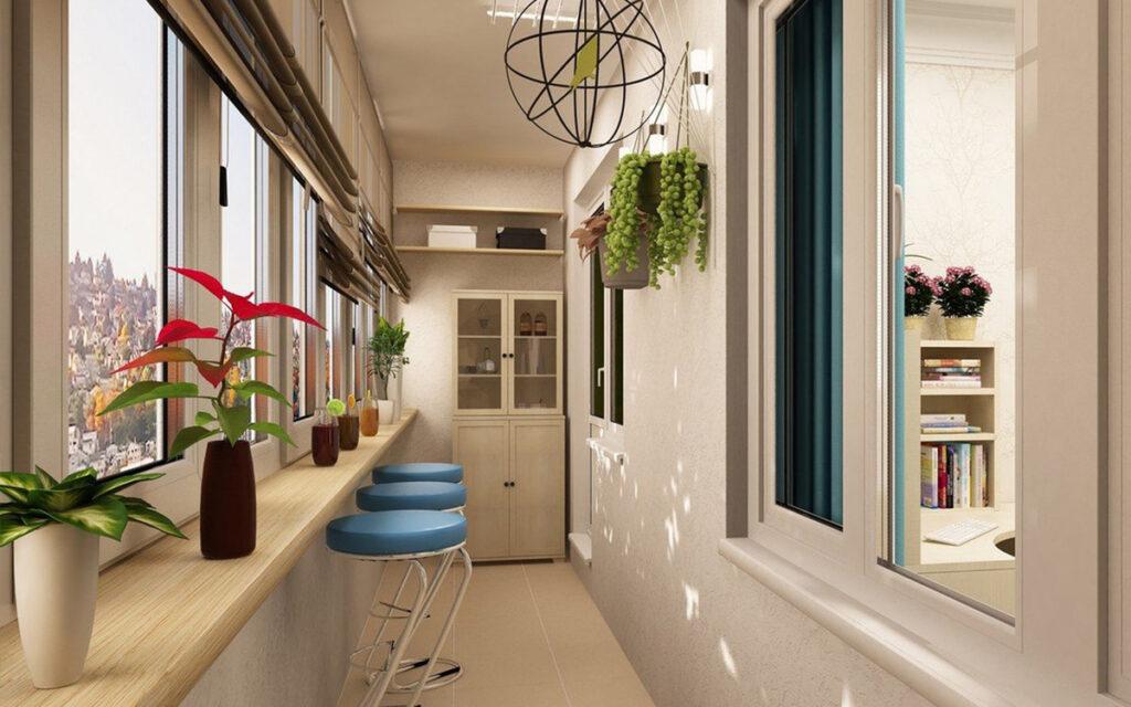 современный интерьер на балконе