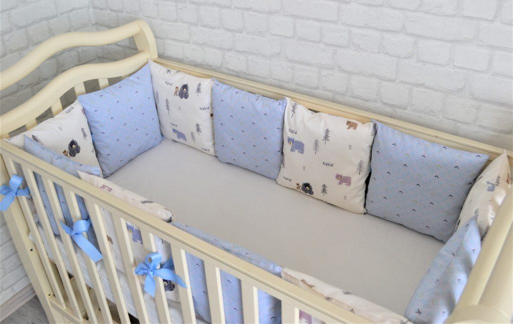 виды и способы шитья бортиков для детской кровати