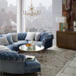 диван круглый синий