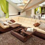 диван бежевый с коричневым