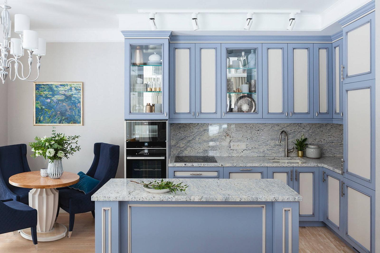 светло голубой кухонный гарнитур