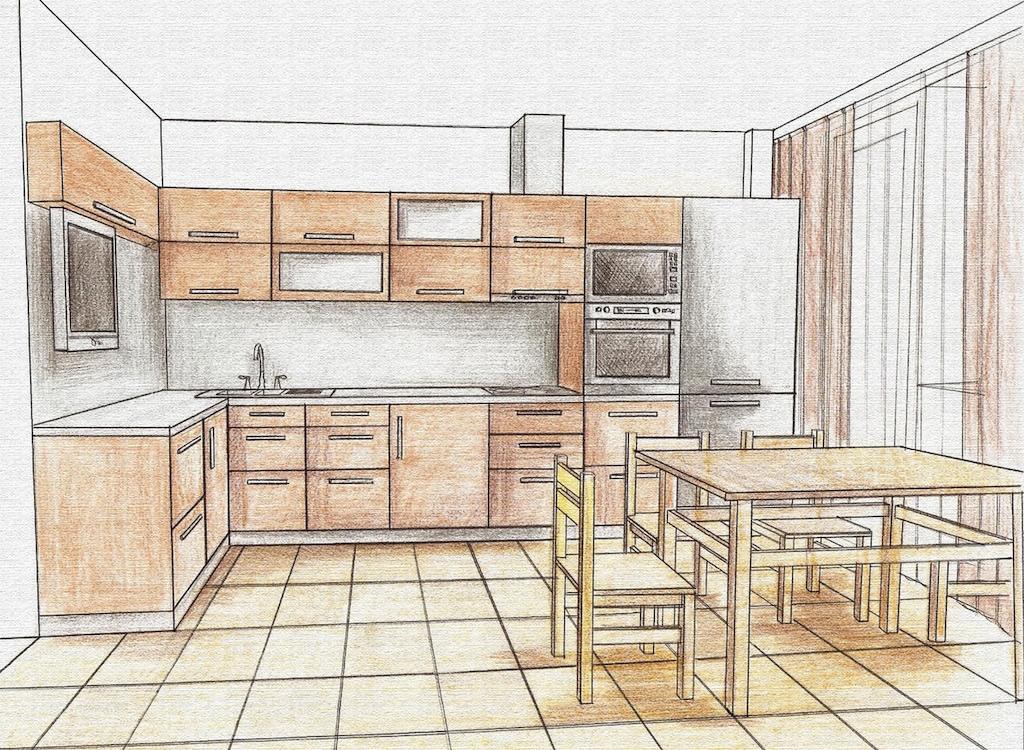планировка кухни карандашом