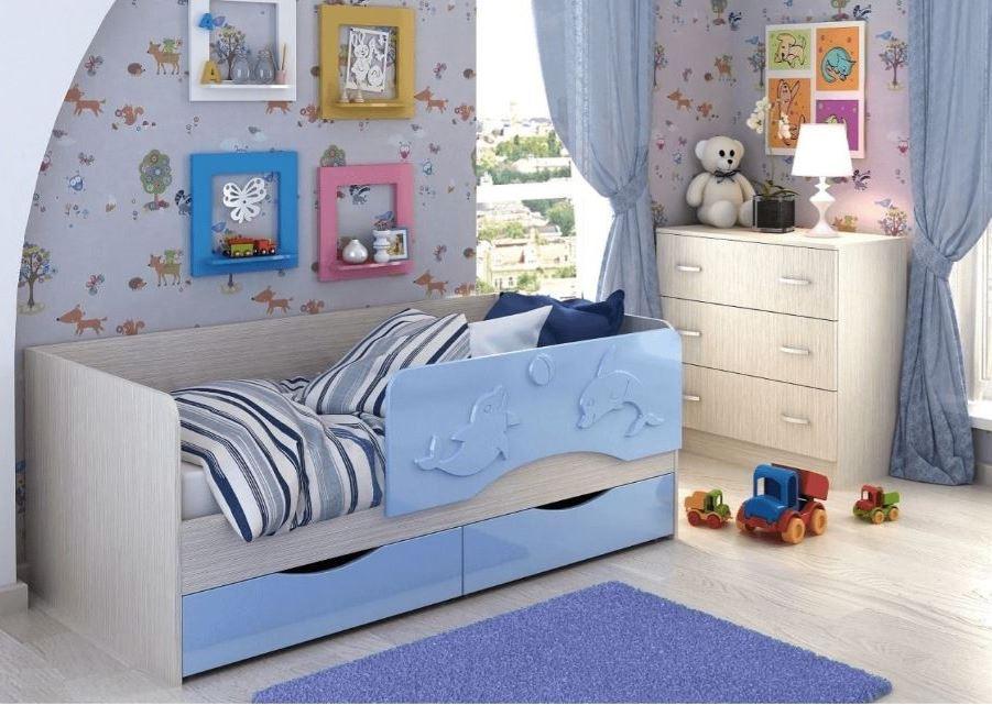 детская кровать дельфин голубая