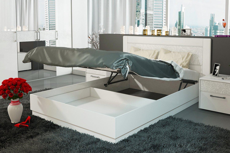 кровать с подъемным механизмом белая