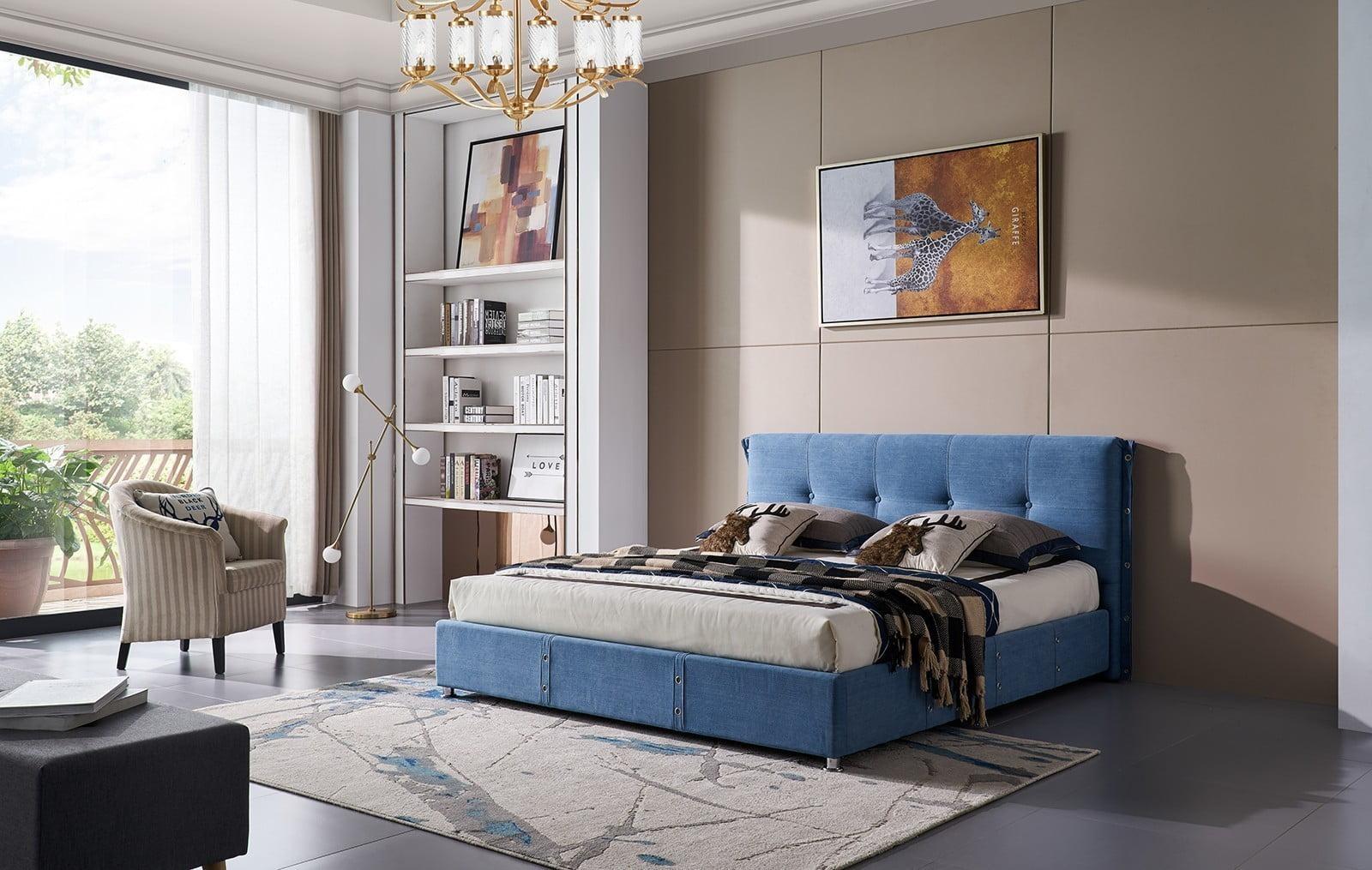 кровать с подъемным механизмом и мягким изголовьем