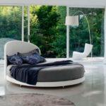 круглая кровать серая