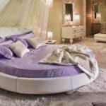 круглая кровать сирень
