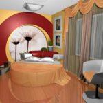 круглая кровать оранж