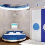 круглая кровать голубая