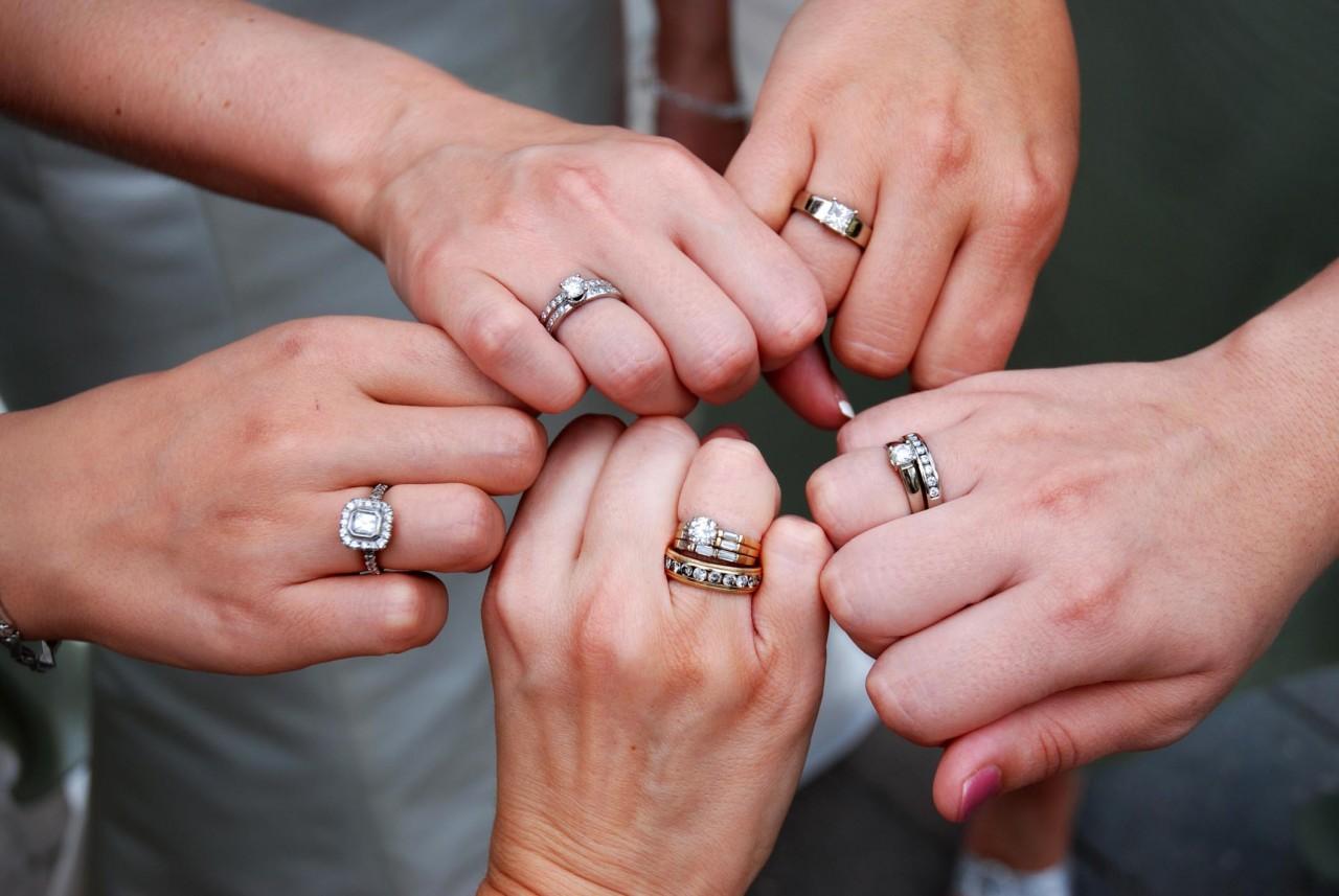 обручальные кольца на безымянном пальце
