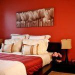 темная мебель с красными стенами