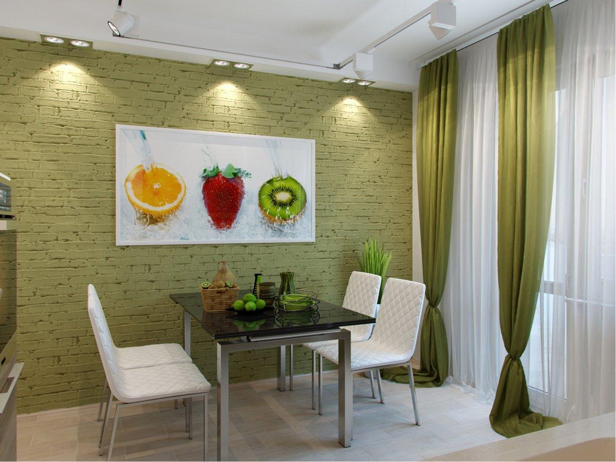 оформление стены на кухне возле стола