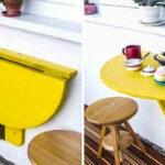 столик на балкон желтый