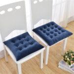 подушка для стула синяя стеганая
