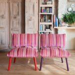 подушка для стула розовая в полоску
