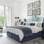 покрывало на кровать синее