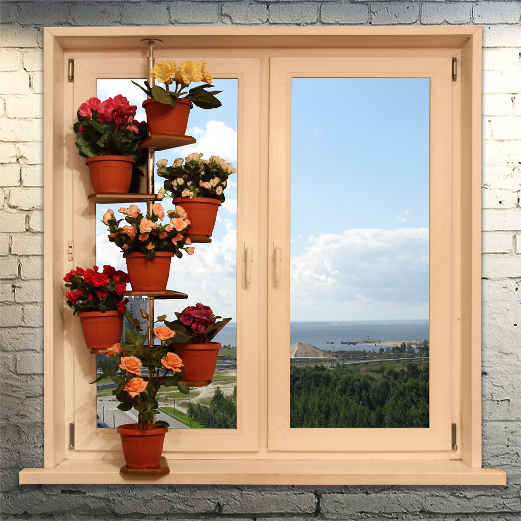 смотреть фото полки для окна под цветы стены поклеить обои
