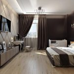 прямоугольная спальня с темной мебелью