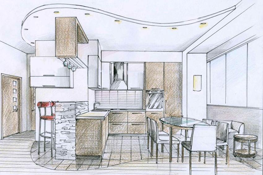 проект кухни на рисунке