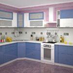 кухон синий угловойный гарнитур