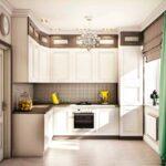 кухонный гарнитур белый с коричневым