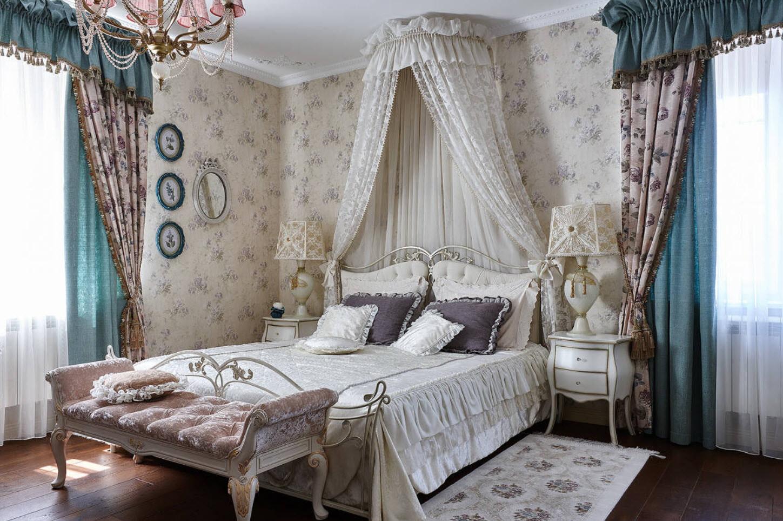 расстановка мебели в спальне прованс