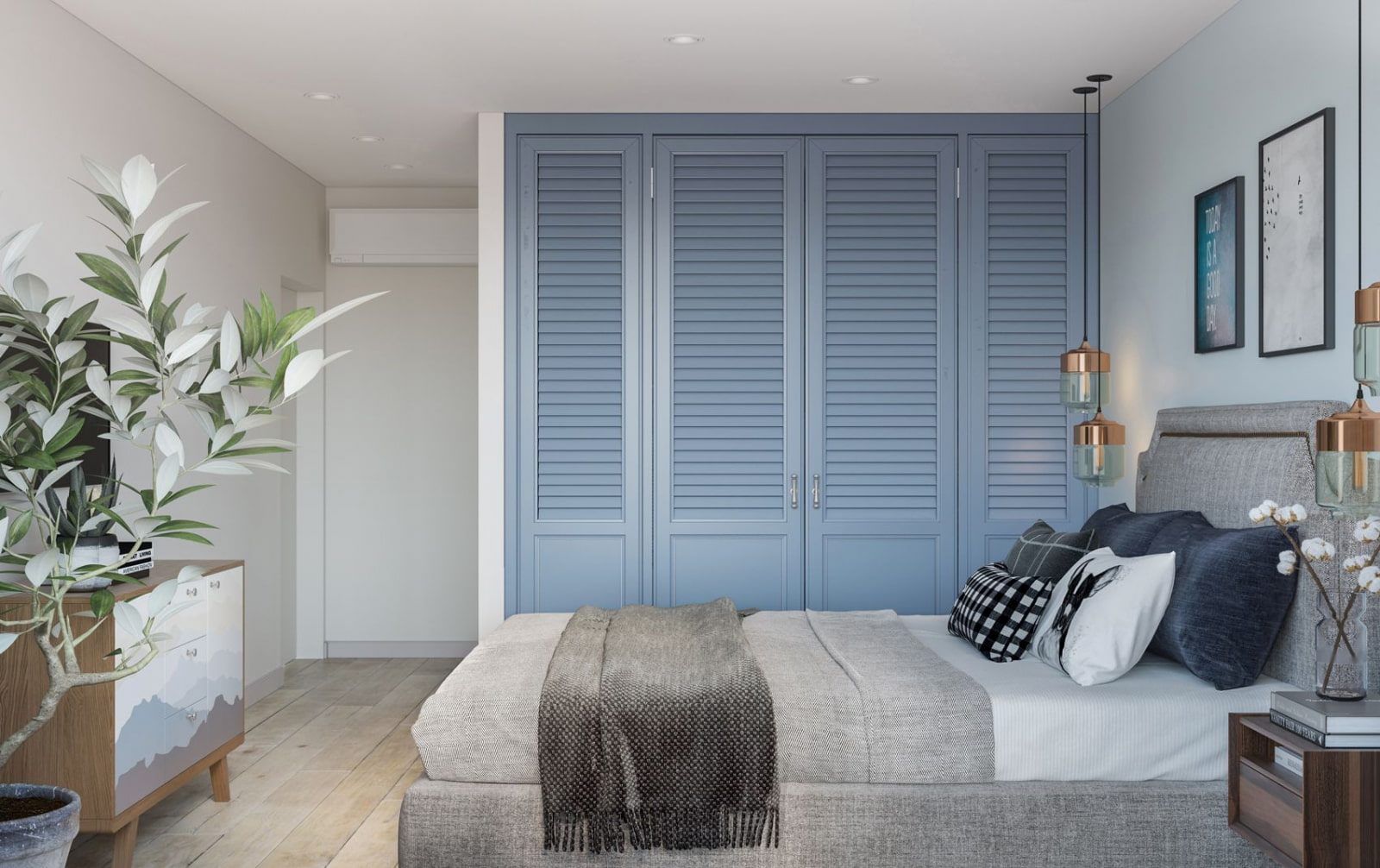 ассиметричная расстановка мебели в спальне