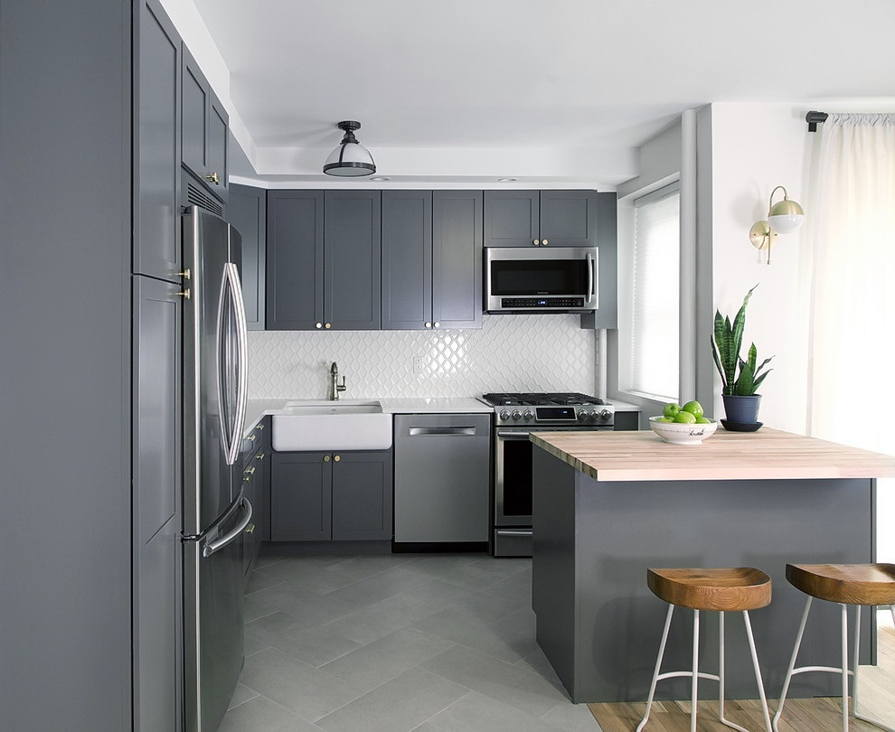 кухня серая минимализм