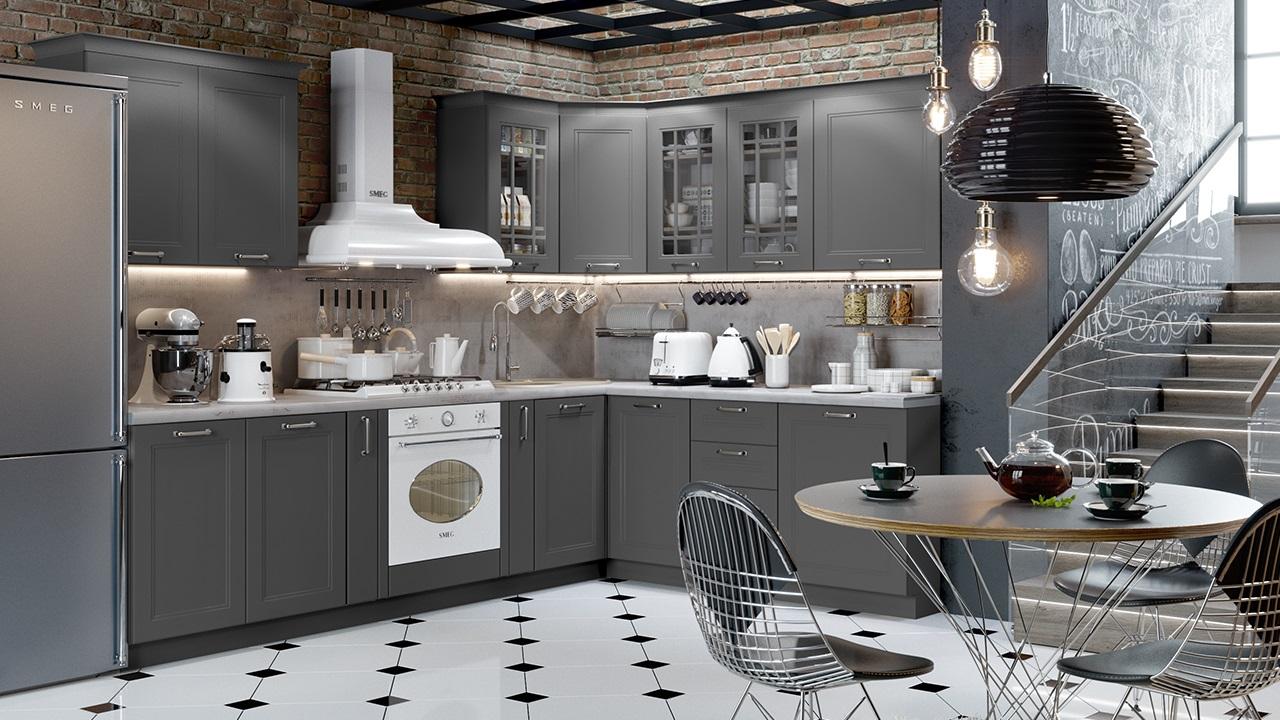 серого цвета кухня