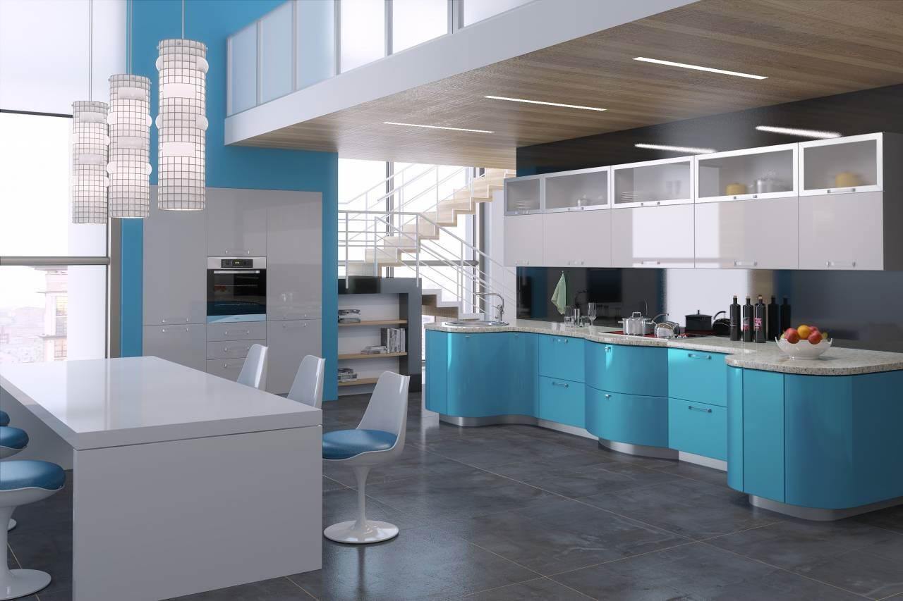 голубой с серым на кухне
