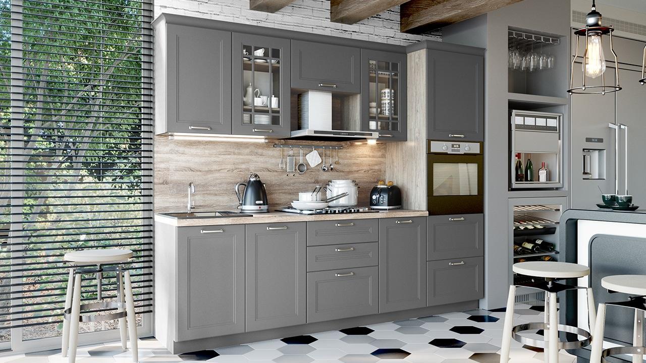 бетонного цвета кухня
