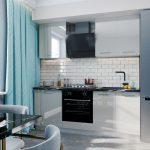 серая кухня с голубой шторой