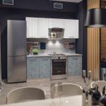серая кухня с холодильником