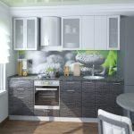 серая кухня с рисунком