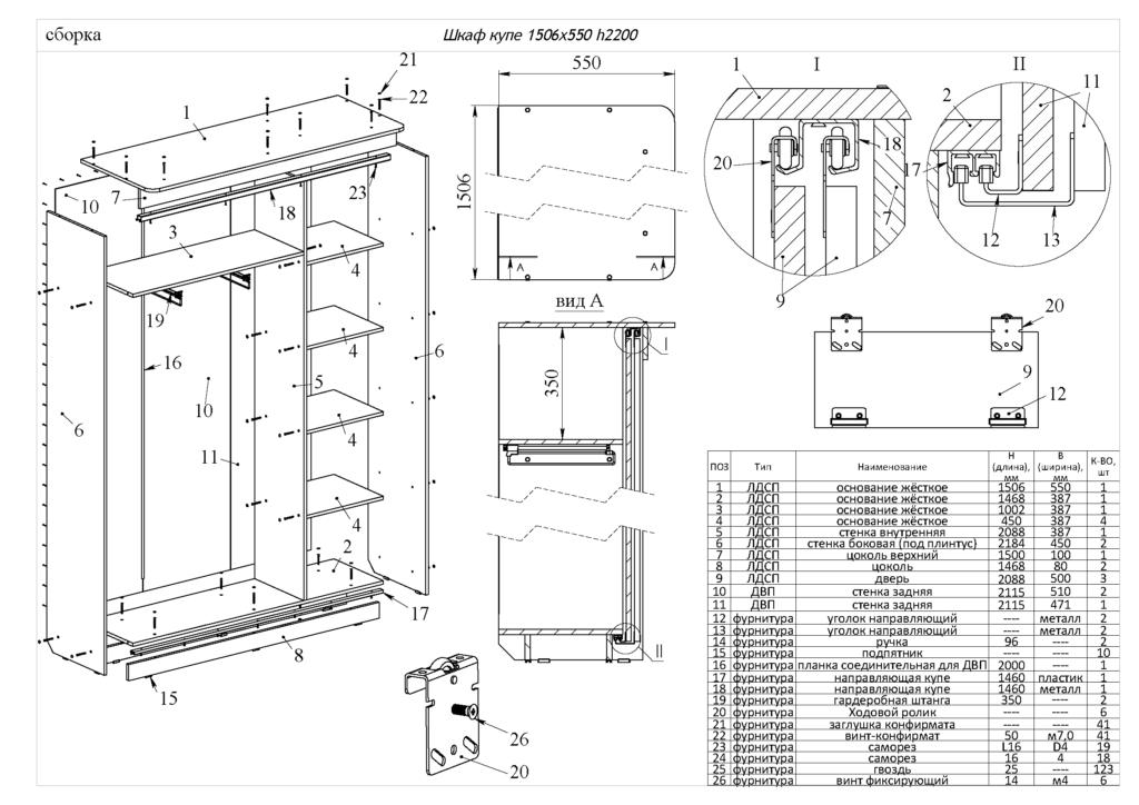 схема сборки шкафа купе