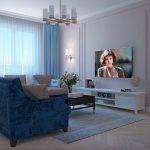 синий диван плюшевый