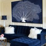 синий диван велюровый