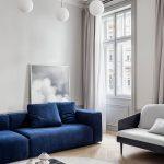 синий диван замшевый