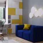 синий диван с желтым